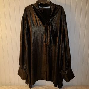 Lane Bryant shimmer button down top with tie neck